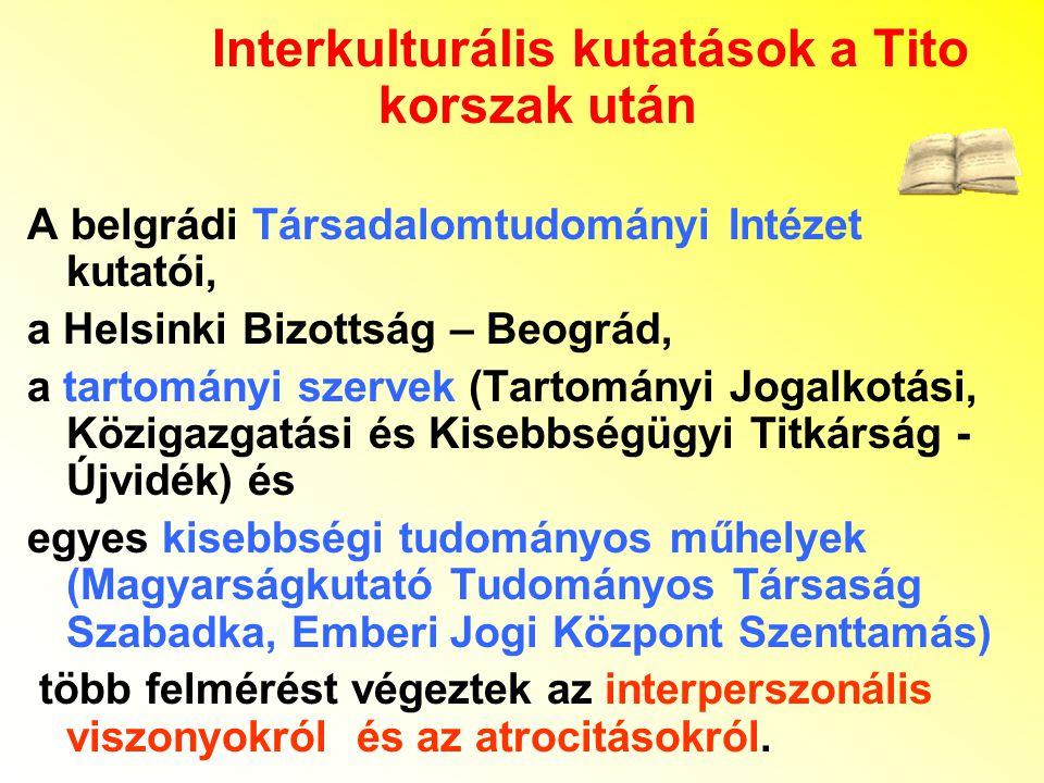 Interkulturális kutatások a Tito korszak után