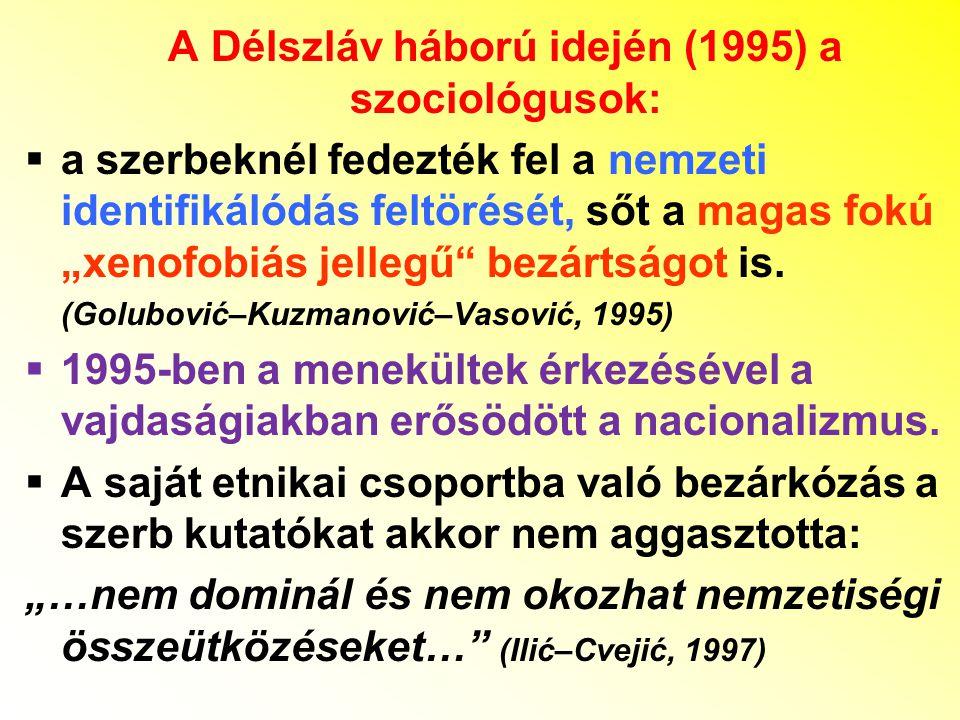 A Délszláv háború idején (1995) a szociológusok: