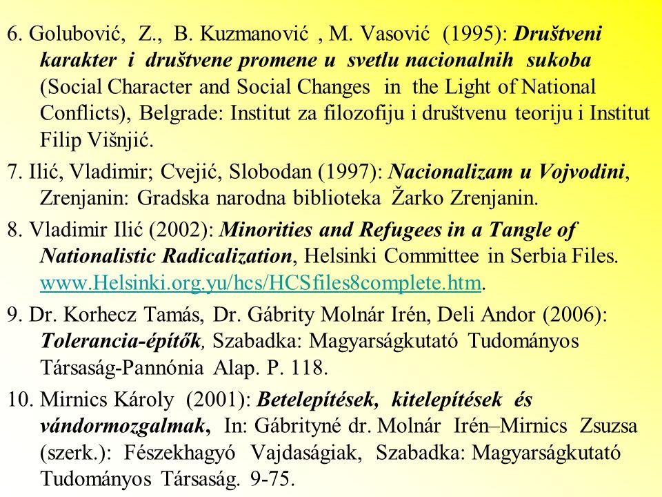 6. Golubović, Z. , B. Kuzmanović , M