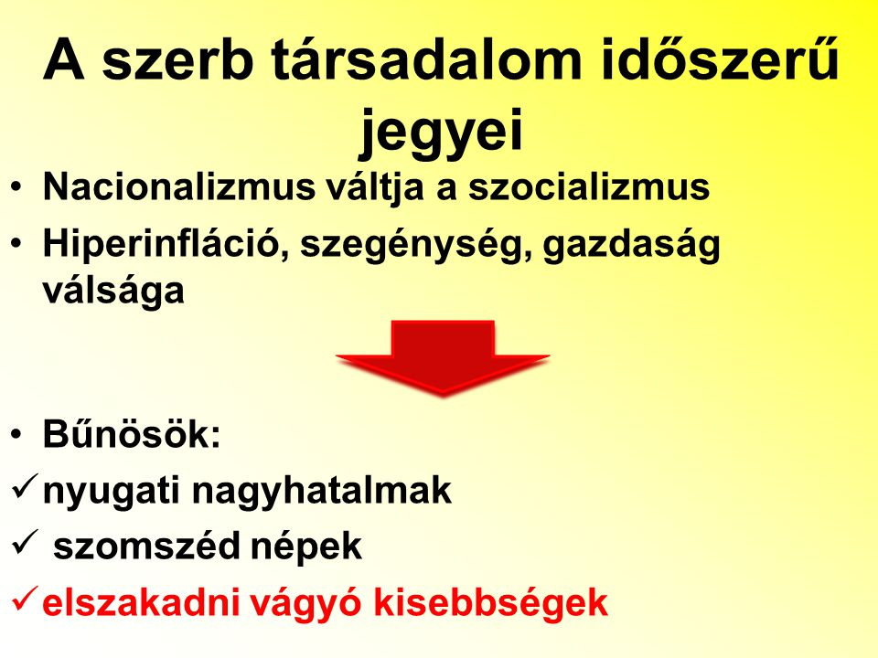 A szerb társadalom időszerű jegyei