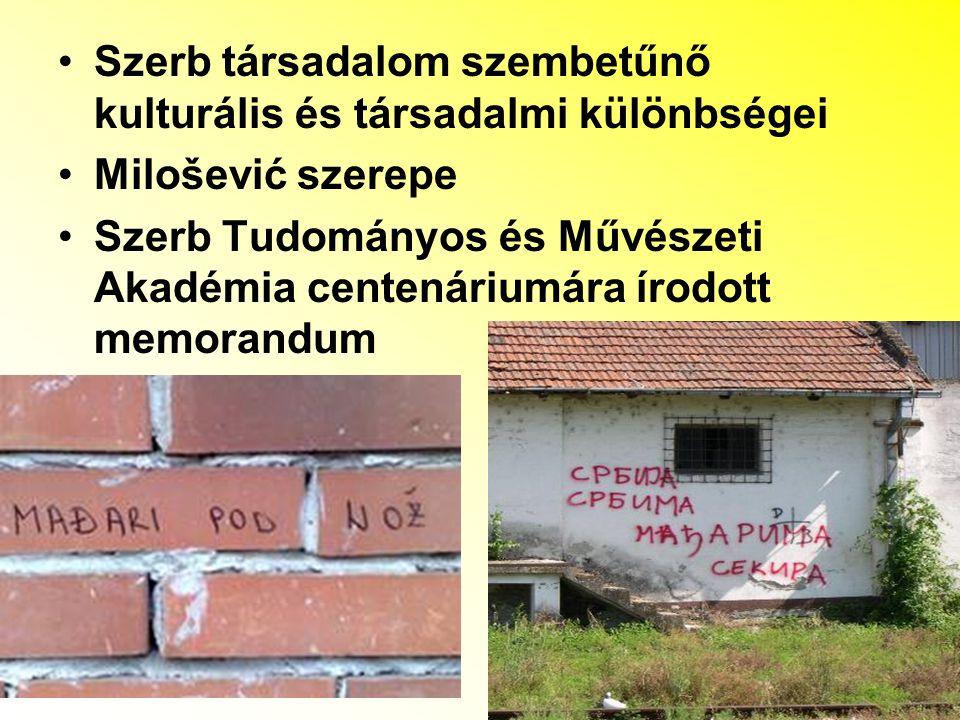 Szerb társadalom szembetűnő kulturális és társadalmi különbségei