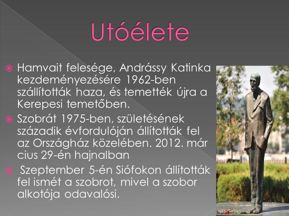 Utóélete Hamvait felesége, Andrássy Katinka kezdeményezésére 1962-ben szállították haza, és temették újra a Kerepesi temetőben.