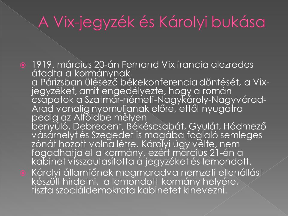 A Vix-jegyzék és Károlyi bukása