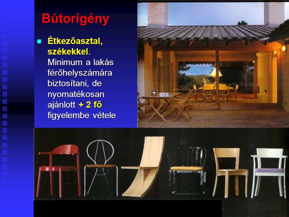 Bútorigény Étkezőasztal, székekkel.