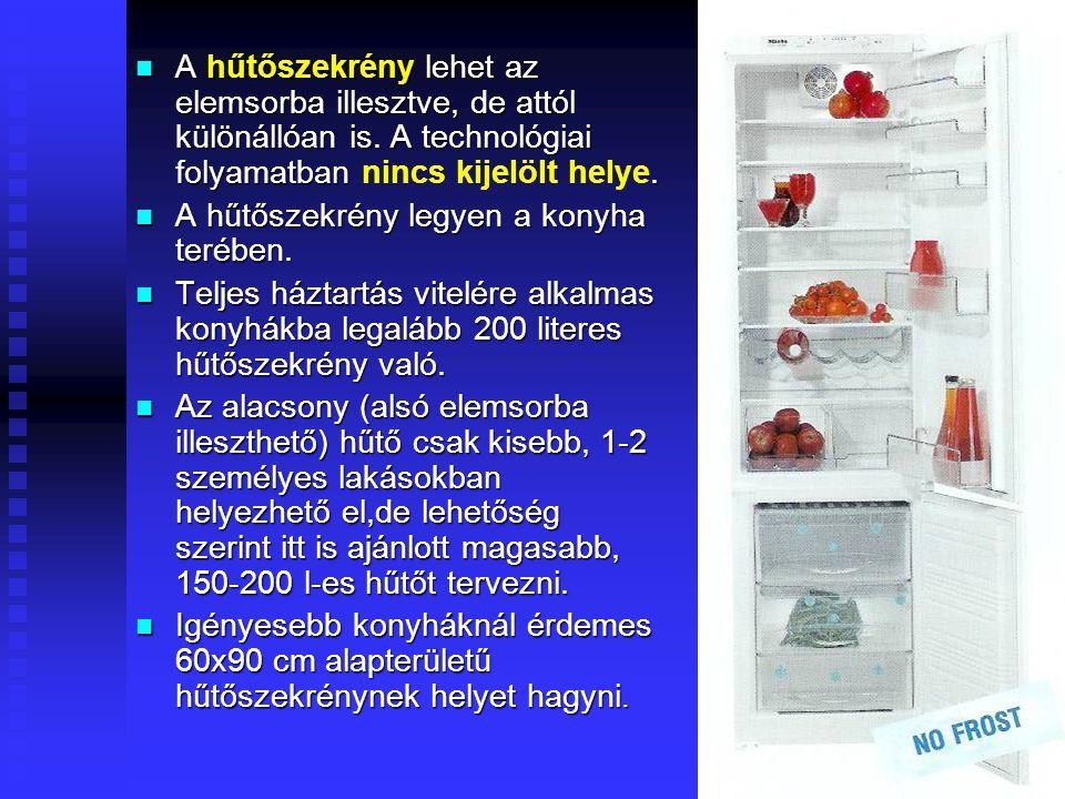 A hűtőszekrény lehet az elemsorba illesztve, de attól különállóan is