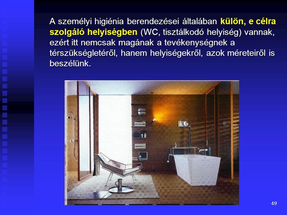 A személyi higiénia berendezései általában külön, e célra szolgáló helyiségben (WC, tisztálkodó helyiség) vannak, ezért itt nemcsak magának a tevékenységnek a térszükségletéről, hanem helyiségekről, azok méreteiről is beszélünk.