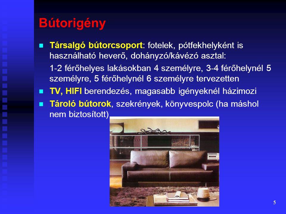 Bútorigény Társalgó bútorcsoport: fotelek, pótfekhelyként is használható heverő, dohányzó/kávézó asztal: