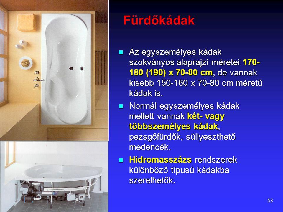 Fürdőkádak Az egyszemélyes kádak szokványos alaprajzi méretei 170-180 (190) x 70-80 cm, de vannak kisebb 150-160 x 70-80 cm méretű kádak is.