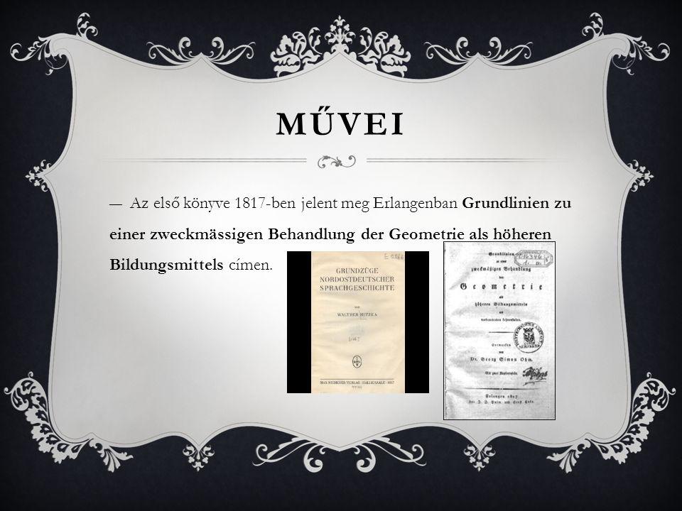 Művei Az első könyve 1817-ben jelent meg Erlangenban Grundlinien zu einer zweckmässigen Behandlung der Geometrie als höheren Bildungsmittels címen.