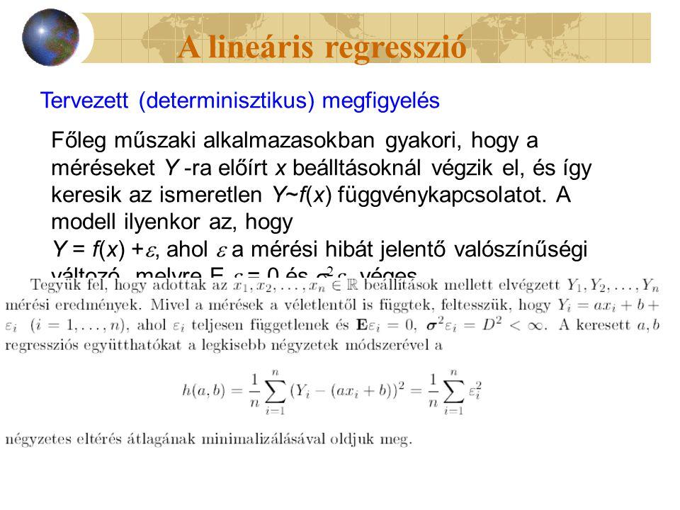 A lineáris regresszió Tervezett (determinisztikus) megfigyelés