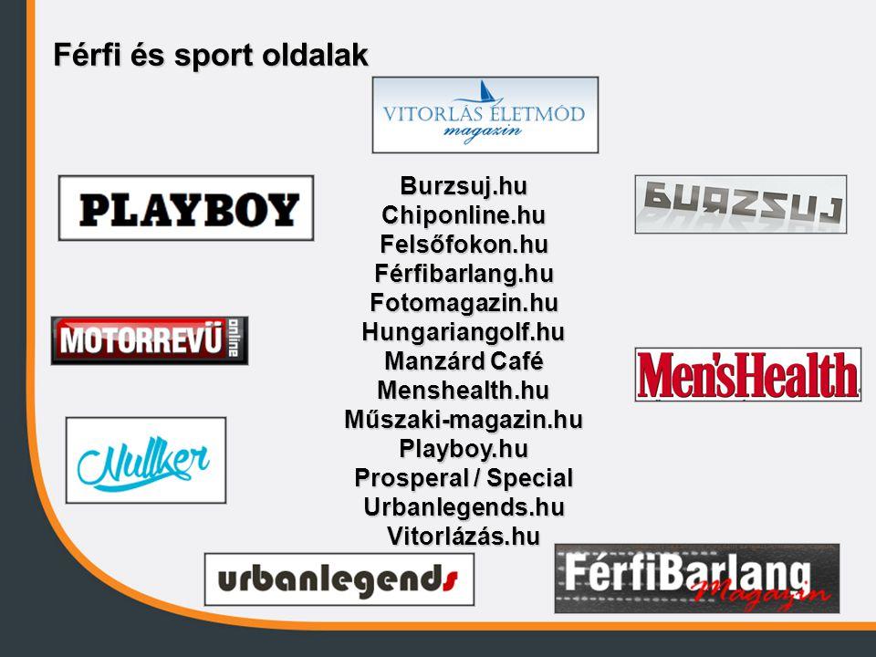 Férfi és sport oldalak Burzsuj.hu Chiponline.hu Felsőfokon.hu Férfibarlang.hu Fotomagazin.hu Hungariangolf.hu.