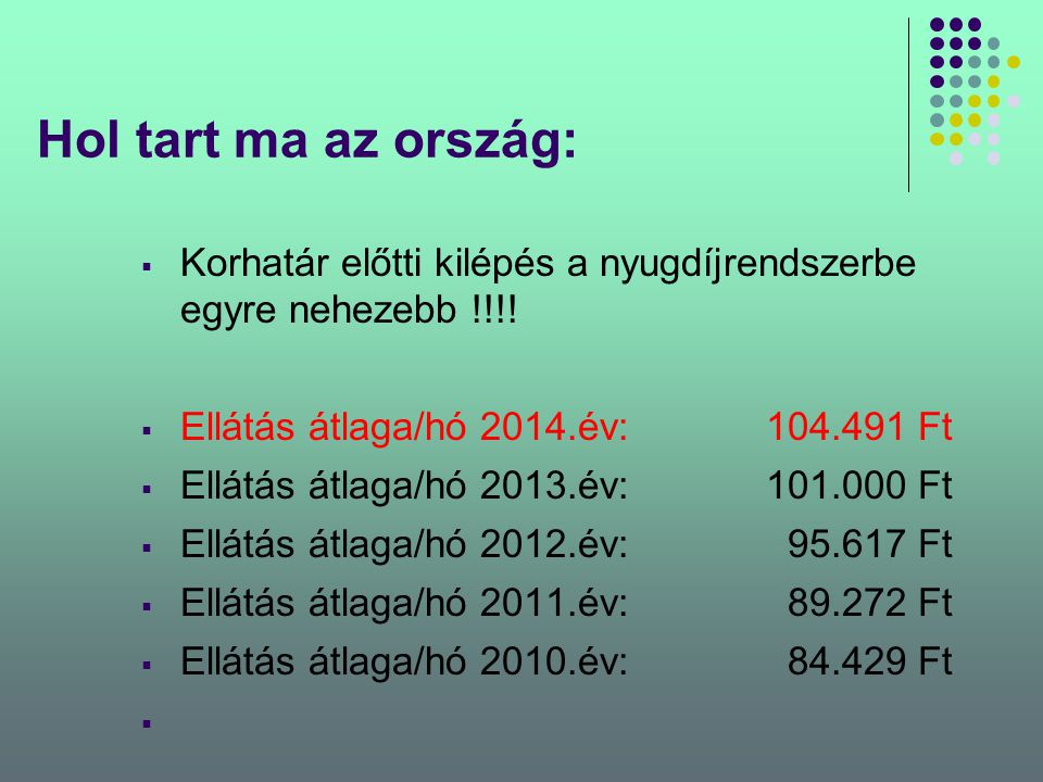 Hol tart ma az ország: Korhatár előtti kilépés a nyugdíjrendszerbe egyre nehezebb !!!! Ellátás átlaga/hó 2014.év: 104.491 Ft.