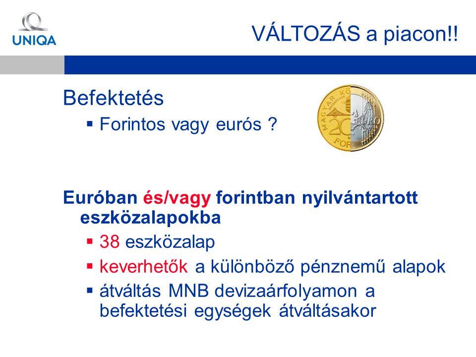 VÁLTOZÁS a piacon!! Befektetés Forintos vagy eurós