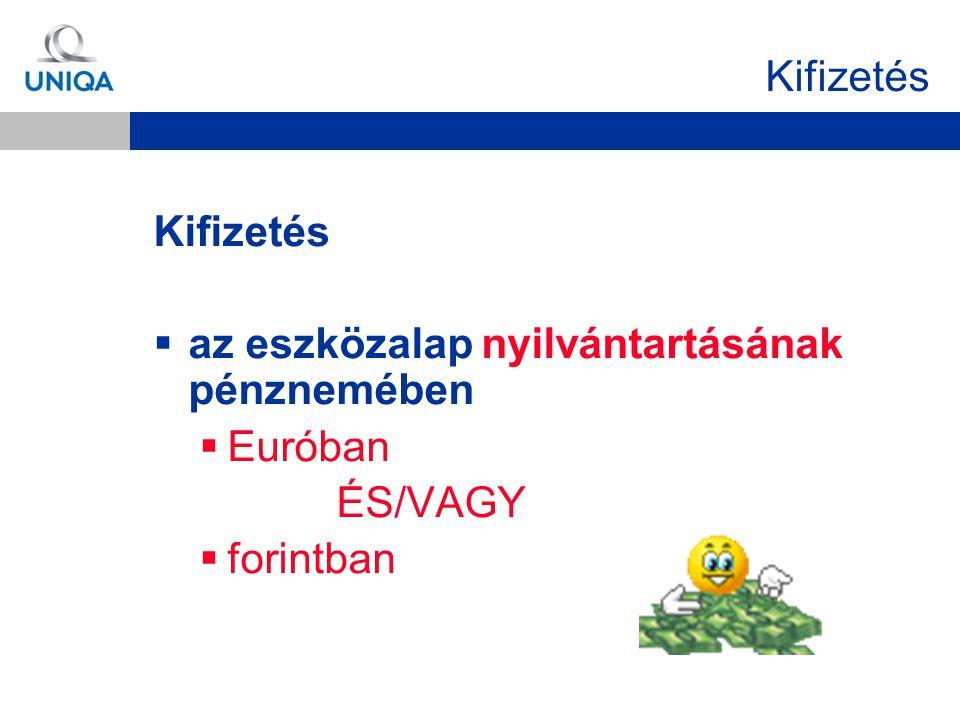 Kifizetés Kifizetés az eszközalap nyilvántartásának pénznemében Euróban ÉS/VAGY forintban
