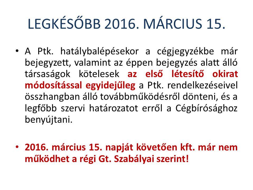 LEGKÉSŐBB 2016. MÁRCIUS 15.