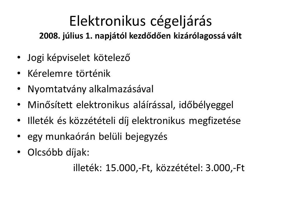 Elektronikus cégeljárás 2008. július 1