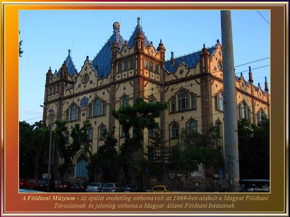 A Földtani Múzeum - Az épület eredetileg otthona volt az 1869-ben alakult a Magyar Földtani Társulatnak és jelenleg otthona a Magyar Állami Földtani Intézetnek.
