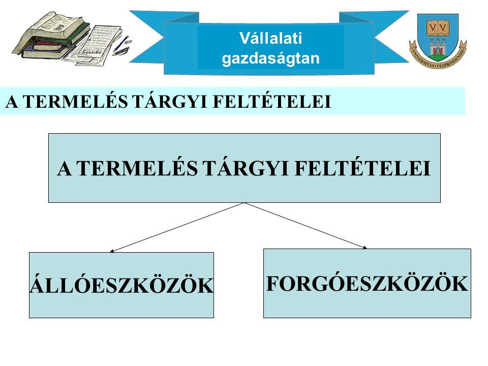 Vállalati gazdaságtan A TERMELÉS TÁRGYI FELTÉTELEI