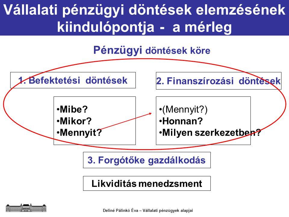 Vállalati pénzügyi döntések elemzésének kiindulópontja - a mérleg