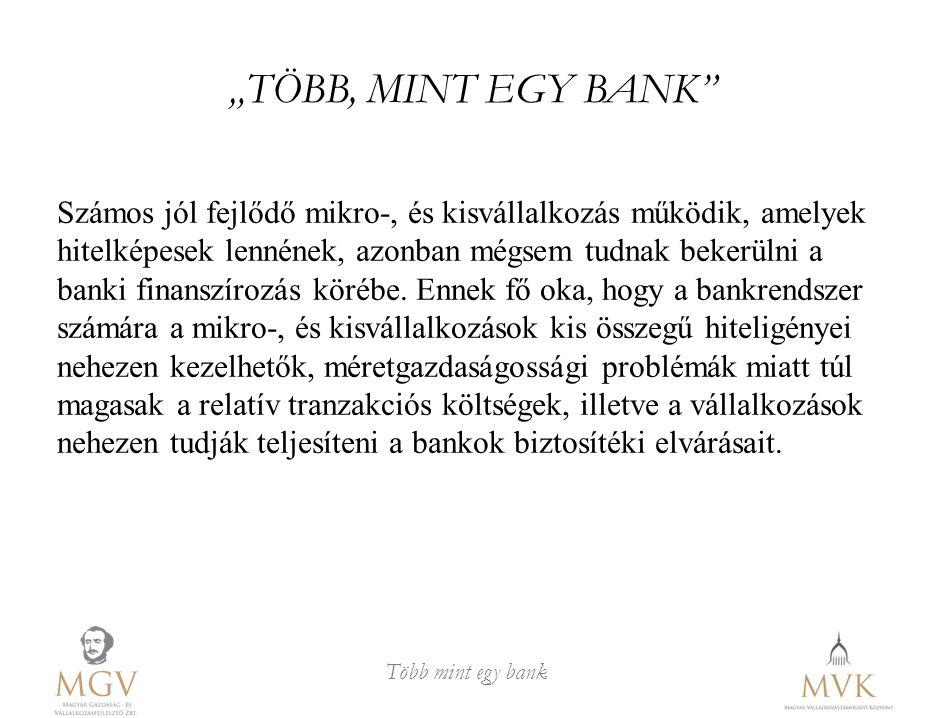 """""""TÖBB, MINT EGY BANK"""