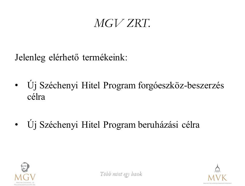 MGV ZRT. Jelenleg elérhető termékeink: