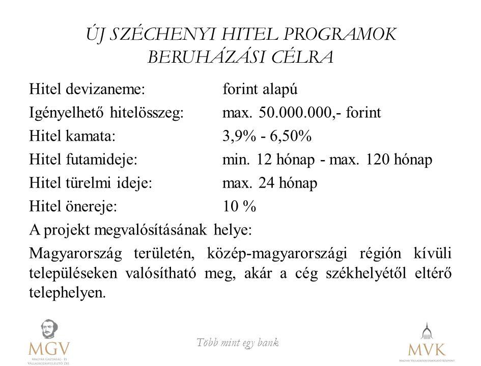 ÚJ SZÉCHENYI HITEL PROGRAMOK BERUHÁZÁSI CÉLRA
