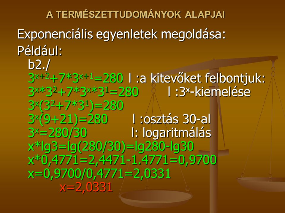 A TERMÉSZETTUDOMÁNYOK ALAPJAI