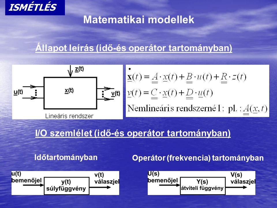 Matematikai modellek ISMÉTLÉS