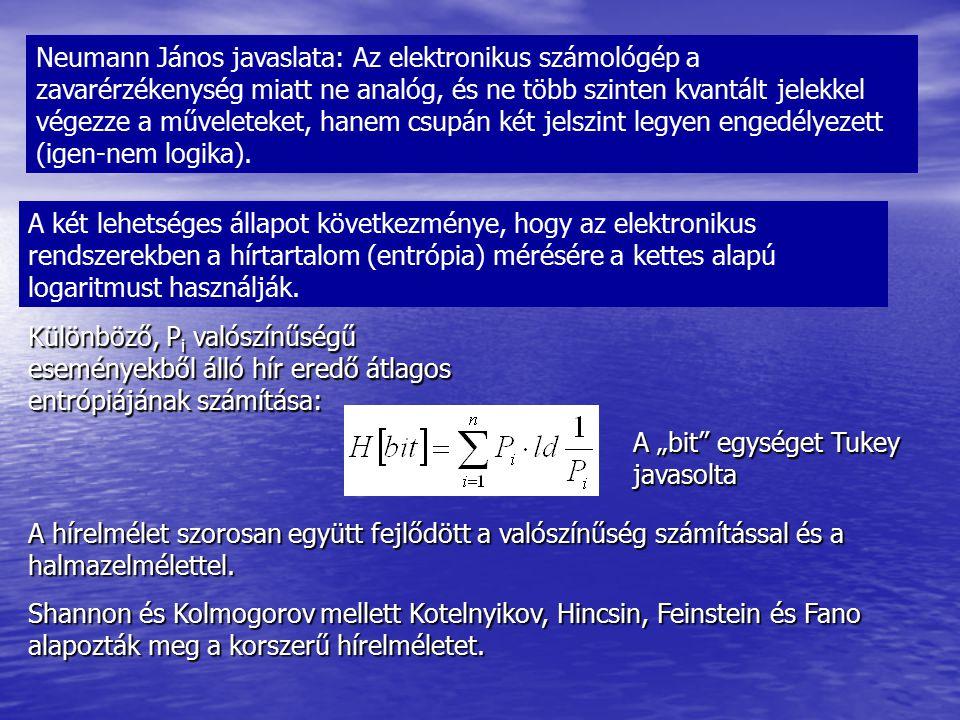 Neumann János javaslata: Az elektronikus számológép a zavarérzékenység miatt ne analóg, és ne több szinten kvantált jelekkel végezze a műveleteket, hanem csupán két jelszint legyen engedélyezett (igen-nem logika).