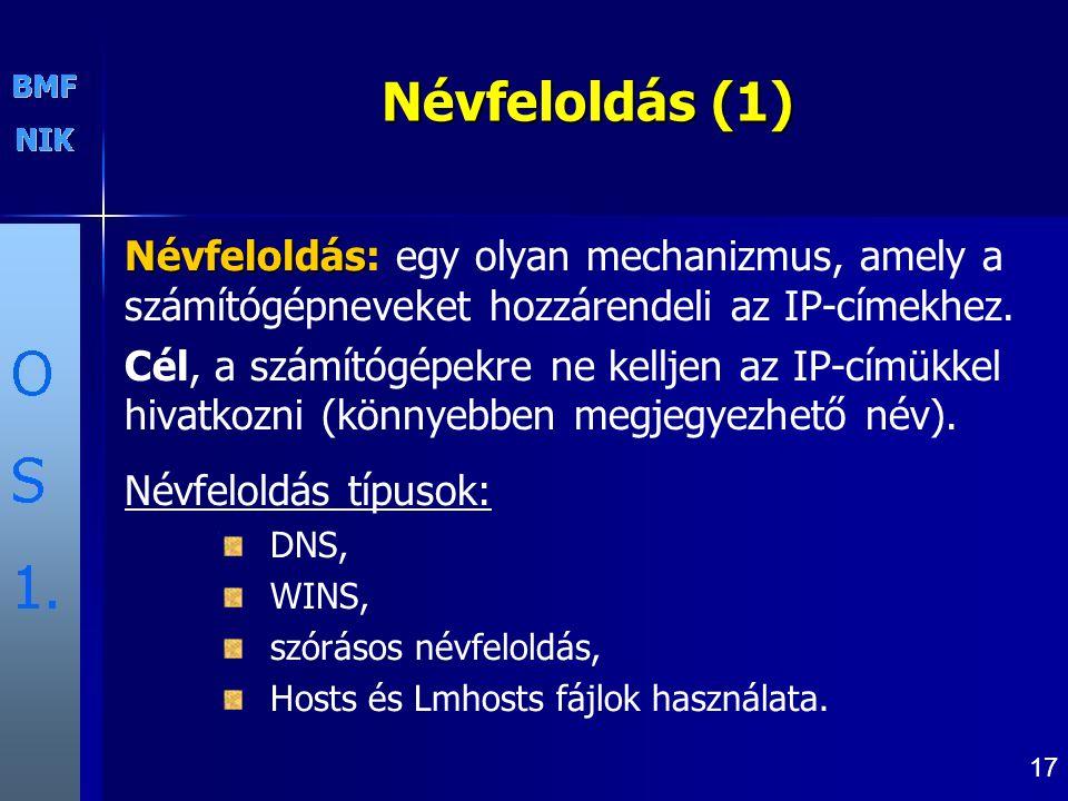 Névfeloldás (1) Névfeloldás: egy olyan mechanizmus, amely a számítógépneveket hozzárendeli az IP-címekhez.