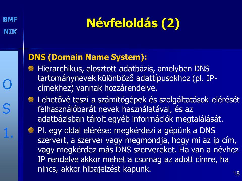 Névfeloldás (2) DNS (Domain Name System):