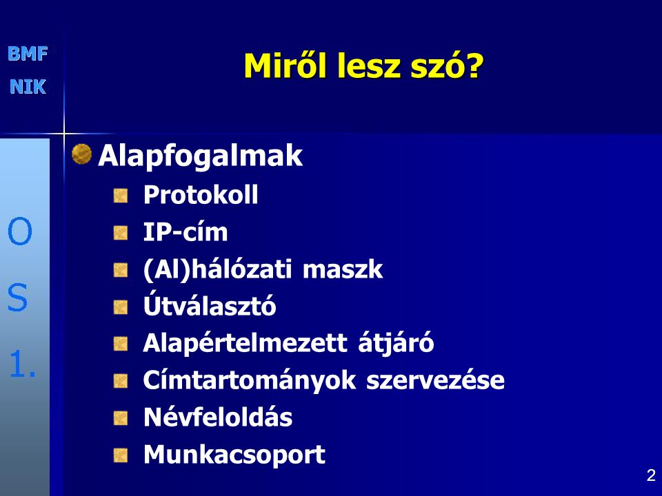 Miről lesz szó Alapfogalmak Protokoll IP-cím (Al)hálózati maszk