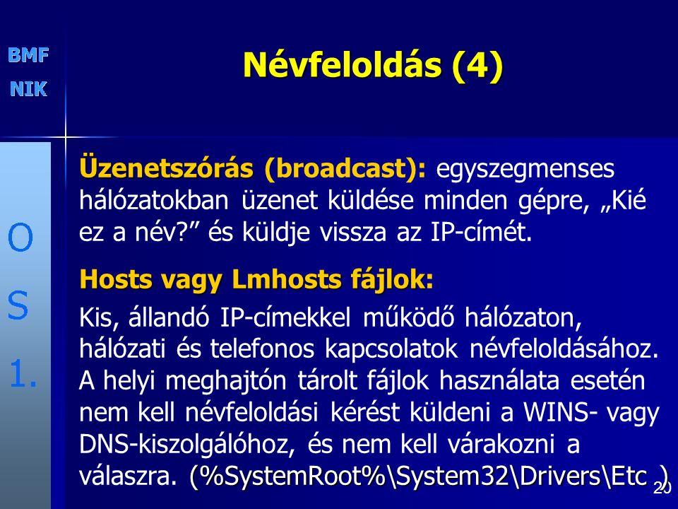 """Névfeloldás (4) Üzenetszórás (broadcast): egyszegmenses hálózatokban üzenet küldése minden gépre, """"Kié ez a név és küldje vissza az IP-címét."""