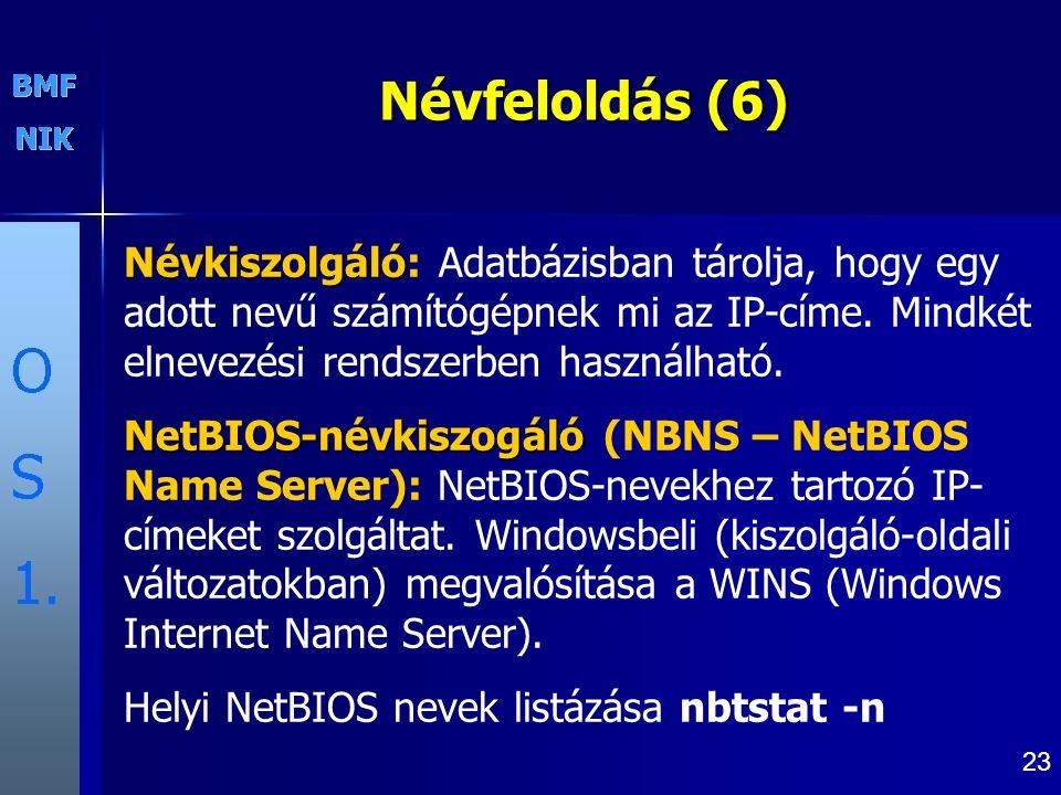 Névfeloldás (6) Névkiszolgáló: Adatbázisban tárolja, hogy egy adott nevű számítógépnek mi az IP-címe. Mindkét elnevezési rendszerben használható.