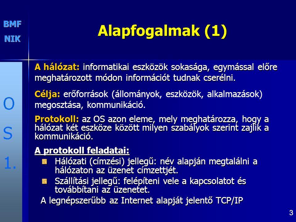 Alapfogalmak (1) A hálózat: informatikai eszközök sokasága, egymással előre meghatározott módon információt tudnak cserélni.
