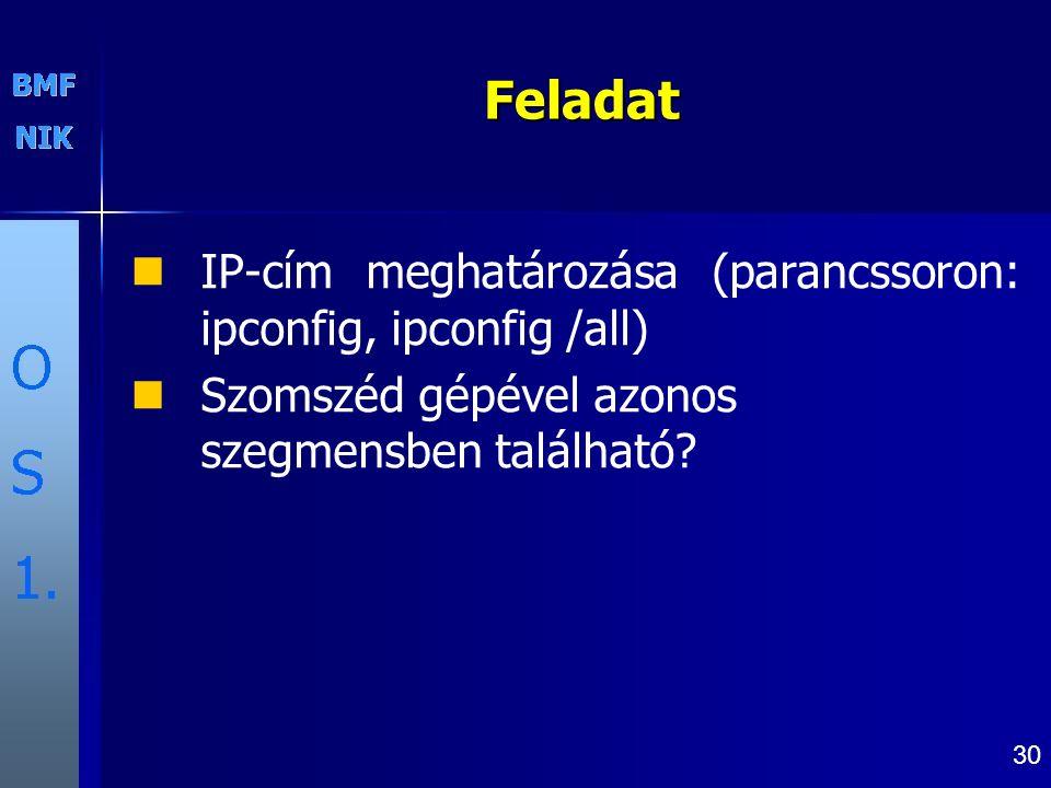 Feladat IP-cím meghatározása (parancssoron: ipconfig, ipconfig /all)