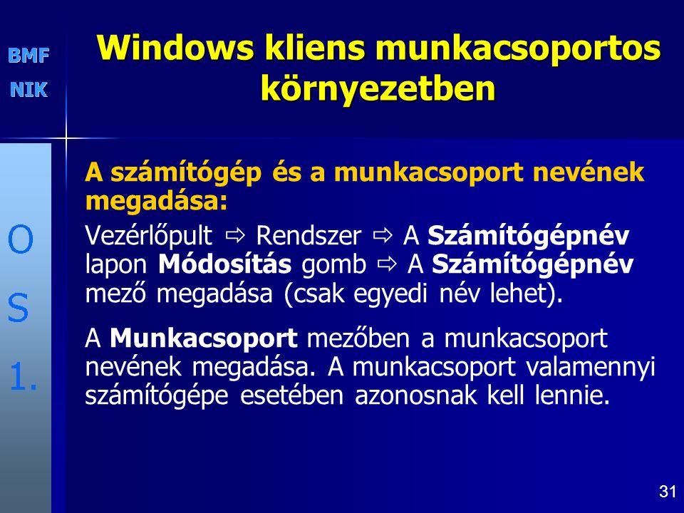 Windows kliens munkacsoportos környezetben