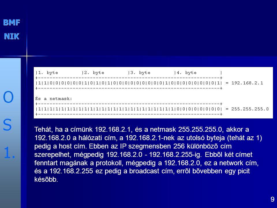 Tehát, ha a címünk 192. 168. 2. 1, és a netmask 255. 255. 255