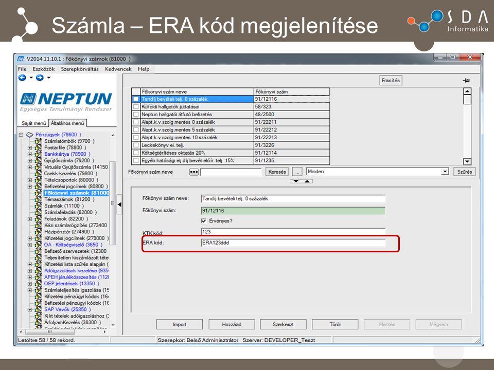 Számla – ERA kód megjelenítése