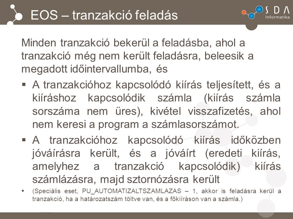 EOS – tranzakció feladás