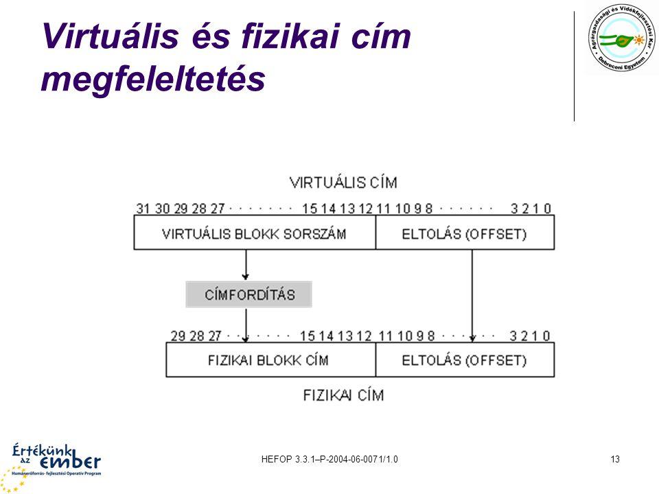 Virtuális és fizikai cím megfeleltetés