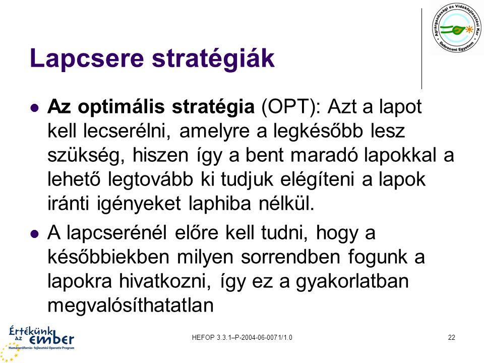 Lapcsere stratégiák