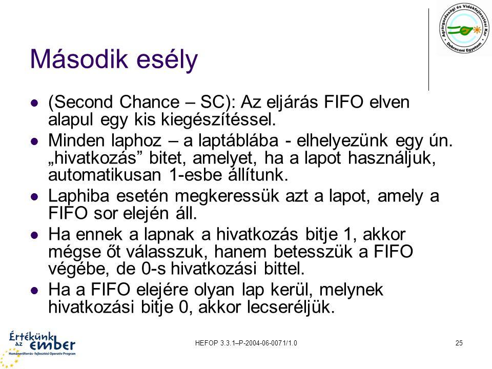 Második esély (Second Chance – SC): Az eljárás FIFO elven alapul egy kis kiegészítéssel.