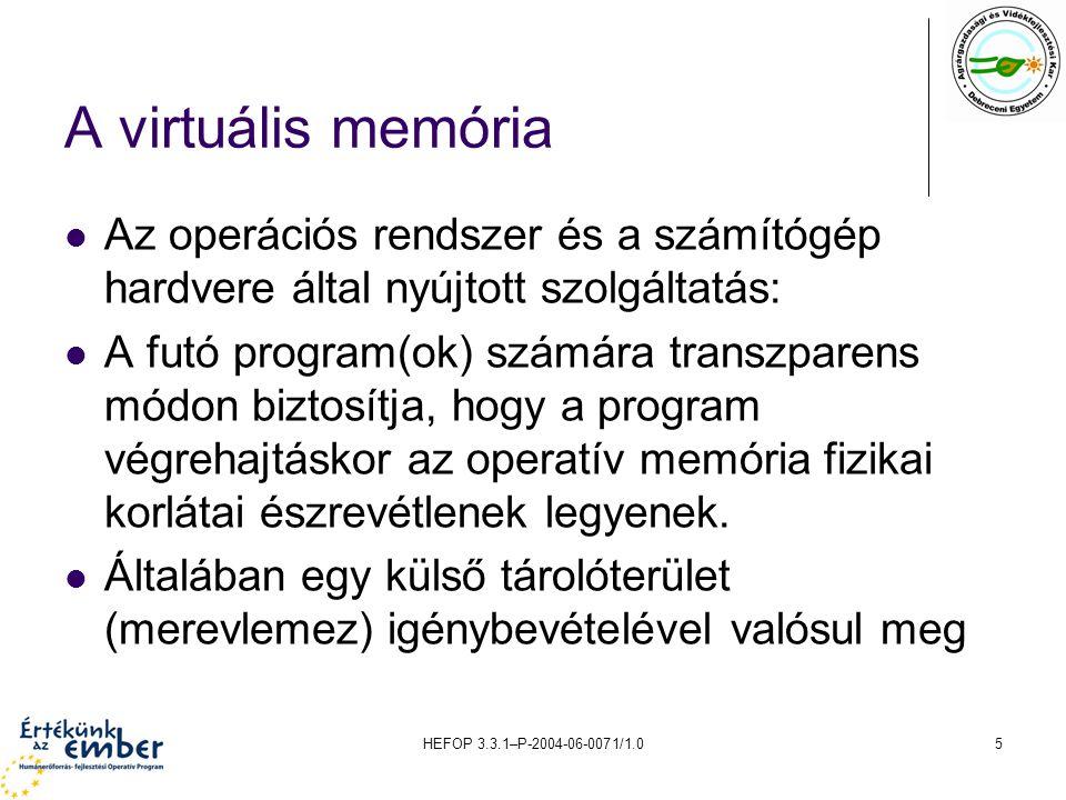 A virtuális memória Az operációs rendszer és a számítógép hardvere által nyújtott szolgáltatás: