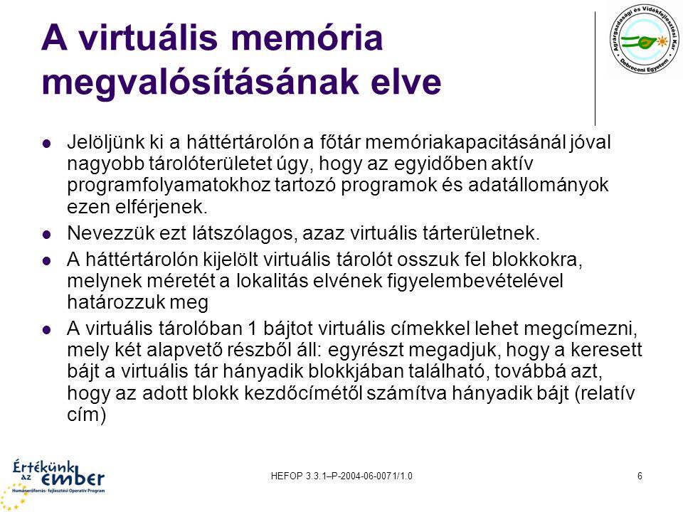 A virtuális memória megvalósításának elve