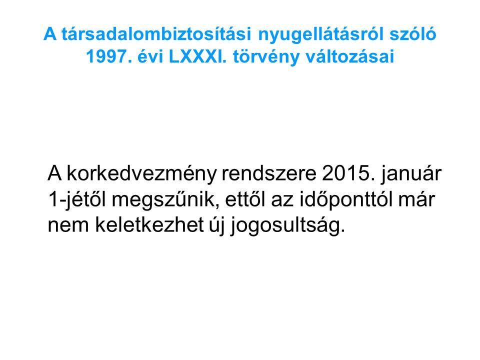 A társadalombiztosítási nyugellátásról szóló 1997. évi LXXXI