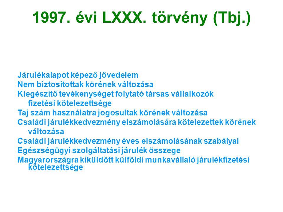 1997. évi LXXX. törvény (Tbj.) Járulékalapot képező jövedelem