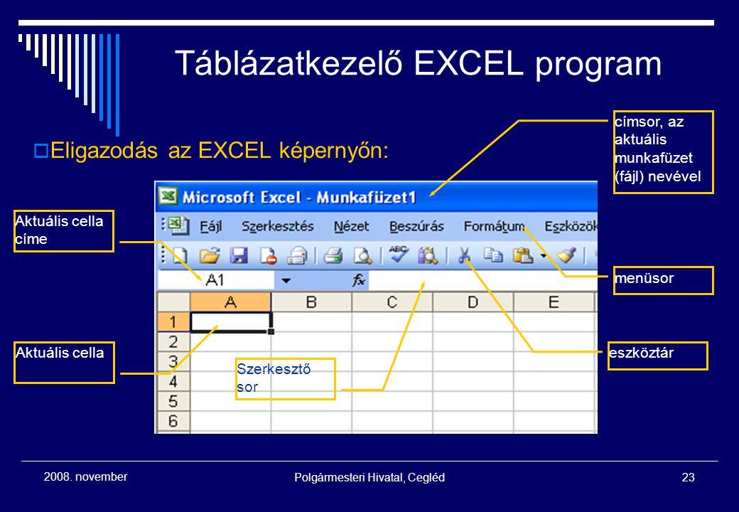 Táblázatkezelő EXCEL program