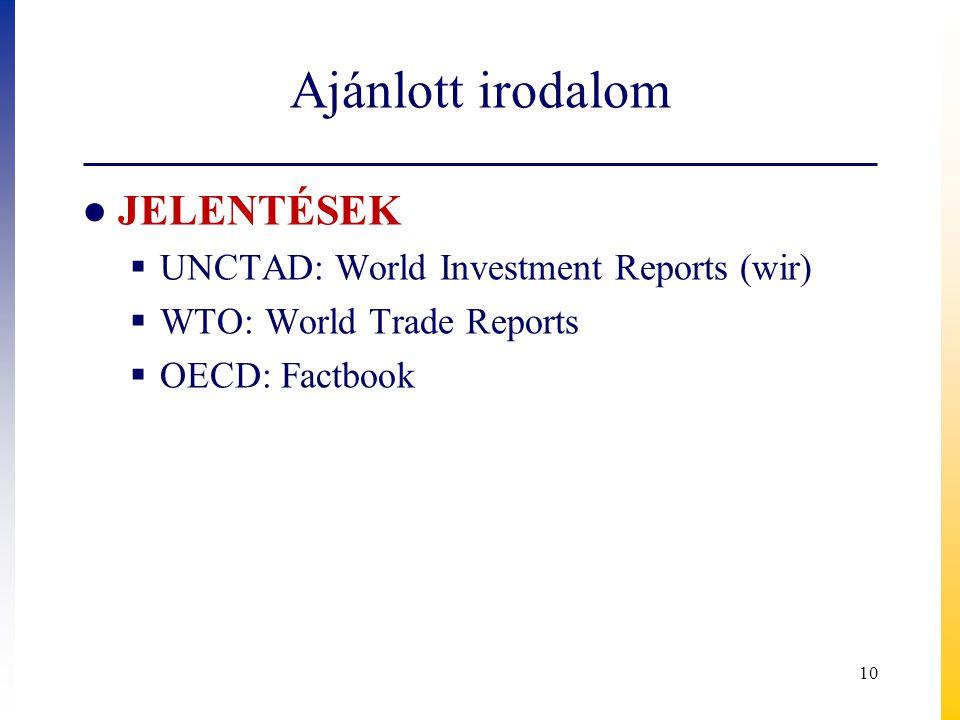 Ajánlott irodalom JELENTÉSEK UNCTAD: World Investment Reports (wir)