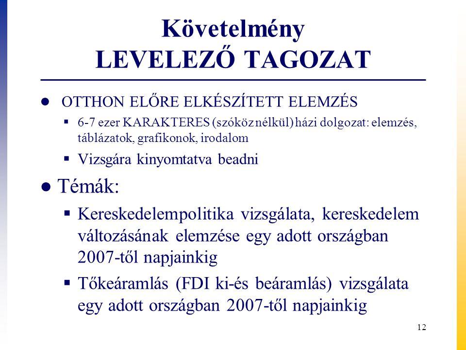 Követelmény LEVELEZŐ TAGOZAT